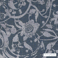 Bailey Griffin - Be42522-193 - Carlotta - Indigo  | Curtain & Upholstery fabric - Blue, Floral, Garden, Linen and Linen Look, Natural Fibre, Traditional, Dry Clean, Natural