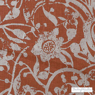 Bailey Griffin - Be42522-214 - Carlotta - Scarlet  | Curtain & Upholstery fabric - Terracotta, Floral, Garden, Linen and Linen Look, Natural Fibre, Traditional, Dry Clean