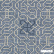 Bailey Griffin - Be42523-193 - Manchu Fret - Indigo | Curtain & Upholstery fabric - Linen/Linen Look, Blue, Dry Clean, Geometric, Lattice, Trellis