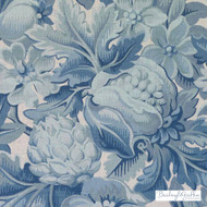 Bailey Griffin - Be42588-76 - Chateau De Blois - Cadet  | Cushion Fabric - Blue, Floral, Garden, Linen and Linen Look, Natural Fibre, Turquoise, Teal, Dry Clean, Natural, Food