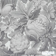 Bailey Griffin - Be42588-174 - Chateau De Blois - Graphite  | Cushion Fabric - Grey, Silver, White, Floral, Garden, Linen and Linen Look, Natural Fibre, Dry Clean, Natural