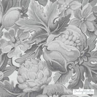 Bailey Griffin - Be42588-174 - Chateau De Blois - Graphite  | Cushion Fabric - Grey, Silver, Floral, Garden, Dry Clean, Food