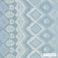 Bailey Griffin - Be42590-619 - Mogador Ikat - Seaglass | Cushion Fabric - Linen/Linen Look, Blue, Turquoise, Teal, Dry Clean, Natural, Print
