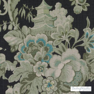 Bailey Griffin - Be42591-156 - Wenchow - Black/Green  | Cushion Fabric - Asian, Black - Charcoal, Floral, Garden, Linen and Linen Look, Natural Fibre, Chinoise, Dry Clean