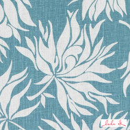 Lulu DK - Le42546-250 - Bella - Sea Green  | Cushion Fabric - Blue, Floral, Garden, Linen and Linen Look, Midcentury, Natural Fibre, Tropical, Turquoise, Teal, Dry Clean