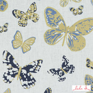 Lulu DK - Le42547-56 - Aquila - Blue/Gold  | Cushion Fabric - Beige, Blue, Gold,  Yellow, Linen and Linen Look, Natural Fibre, Animals, Animals - Fauna, Dry Clean, Natural