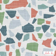 Lulu DK - Le42551-215 - Abstractions - Multi  | Cushion Fabric - Terracotta, Geometric, Linen and Linen Look, Natural Fibre, Turquoise, Teal, Abstract, Dry Clean, Natural