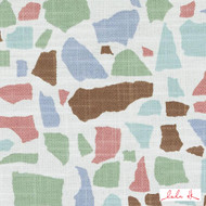 Lulu DK - Le42551-619 - Abstractions - Seaglass    Cushion Fabric - Blue, Brown, Geometric, Linen and Linen Look, Natural