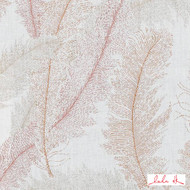 Lulu DK - Le42552-31 - Sandrine - Coral  | Cushion Fabric - Floral, Garden, Linen and Linen Look, Midcentury, Natural Fibre, Dry Clean, Natural, Standard Width