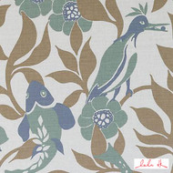 Lulu DK - Le42553-28 - Sardinia - Seafoam  | Upholstery Fabric - Brown, Fire Retardant, Asian, Floral, Garden, Linen and Linen Look, Midcentury, Natural Fibre, Tan, Taupe