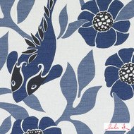 Lulu DK - Le42553-171 - Sardinia - Ocean  | Upholstery Fabric - Blue, Fire Retardant, Asian, Floral, Garden, Linen and Linen Look, Midcentury, Natural Fibre, Tropical, Fish