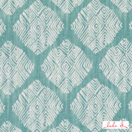 Lulu DK - Le42555-19 - Talisman - Aqua  | Cushion Fabric - Linen and Linen Look, Medallion, Midcentury, Natural Fibre, Turquoise, Teal, Diamond - Harlequin, Dry Clean, Print