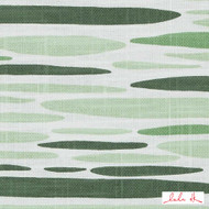 Lulu DK - Le42557-2 - Island - Green  | Cushion Fabric - Linen and Linen Look, Midcentury, Natural Fibre, Stripe, Abstract, Dry Clean, Natural, Print, Standard Width