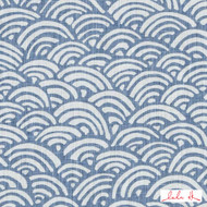 Lulu DK - Le42558-7 - Bungalow - Light Blue  | Cushion Fabric - Blue, Linen and Linen Look, Midcentury, Natural Fibre, Scale, Abstract, Dry Clean, Natural, Print