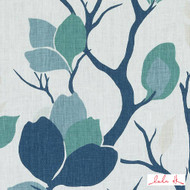 Lulu DK - Le42560-250 - Lyford - Sea Green  | Cushion Fabric - Blue, Fire Retardant, Floral, Garden, Linen and Linen Look, Midcentury, Natural Fibre, Turquoise, Teal, Print