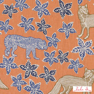 Lulu DK - Le42613-35 - Kipling - Tangerine  | Cushion Fabric - Floral, Garden, Linen and Linen Look, Natural Fibre, Animals, Animals - Fauna, Dry Clean, Natural, Print, Cats