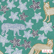 Lulu DK - Le42613-72 - Kipling - Blue/Green  | Cushion Fabric - Floral, Garden, Linen and Linen Look, Natural Fibre, Turquoise, Teal, Animals, Animals - Fauna, Dry Clean, Cats