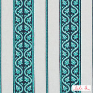Lulu DK - Le42614-11 - Jagger - Turquoise  | Cushion Fabric - Linen and Linen Look, Natural Fibre, Stripe, Turquoise, Teal, Dry Clean, Natural, Print, Standard Width