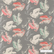 Harlequin Palmetto 120427  | Curtain Fabric - Grey, Red, Floral, Garden, Harlequin, Natural Fibre, Commercial Use, Domestic Use, Natural, Standard Width