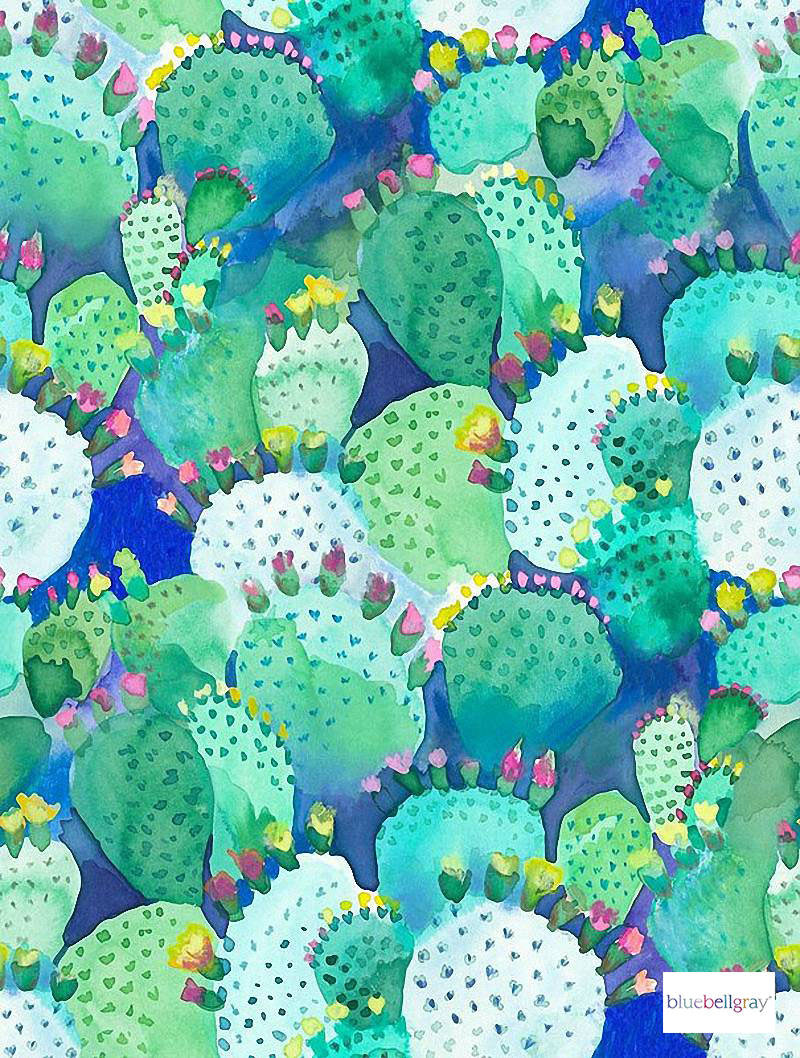 Bluebellgray - Cactus - Cactus - 58018-101 | Curtain & Upholstery fabric - Blue, Green, Contemporary, Floral, Garden, Botantical, Natural