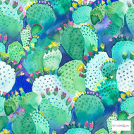 Bluebellgray - Cactus Wallpaper - Cactus - 58002-101  | Wallpaper, Wallcovering - Blue, Fibre Blends, Multi-Coloured, Pattern, Standard Width, Watercolour
