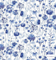 Bluebellgray - Corran - Cornflower - 58024-101  | Curtain & Upholstery fabric - Blue, Contemporary, Floral, Garden, Natural