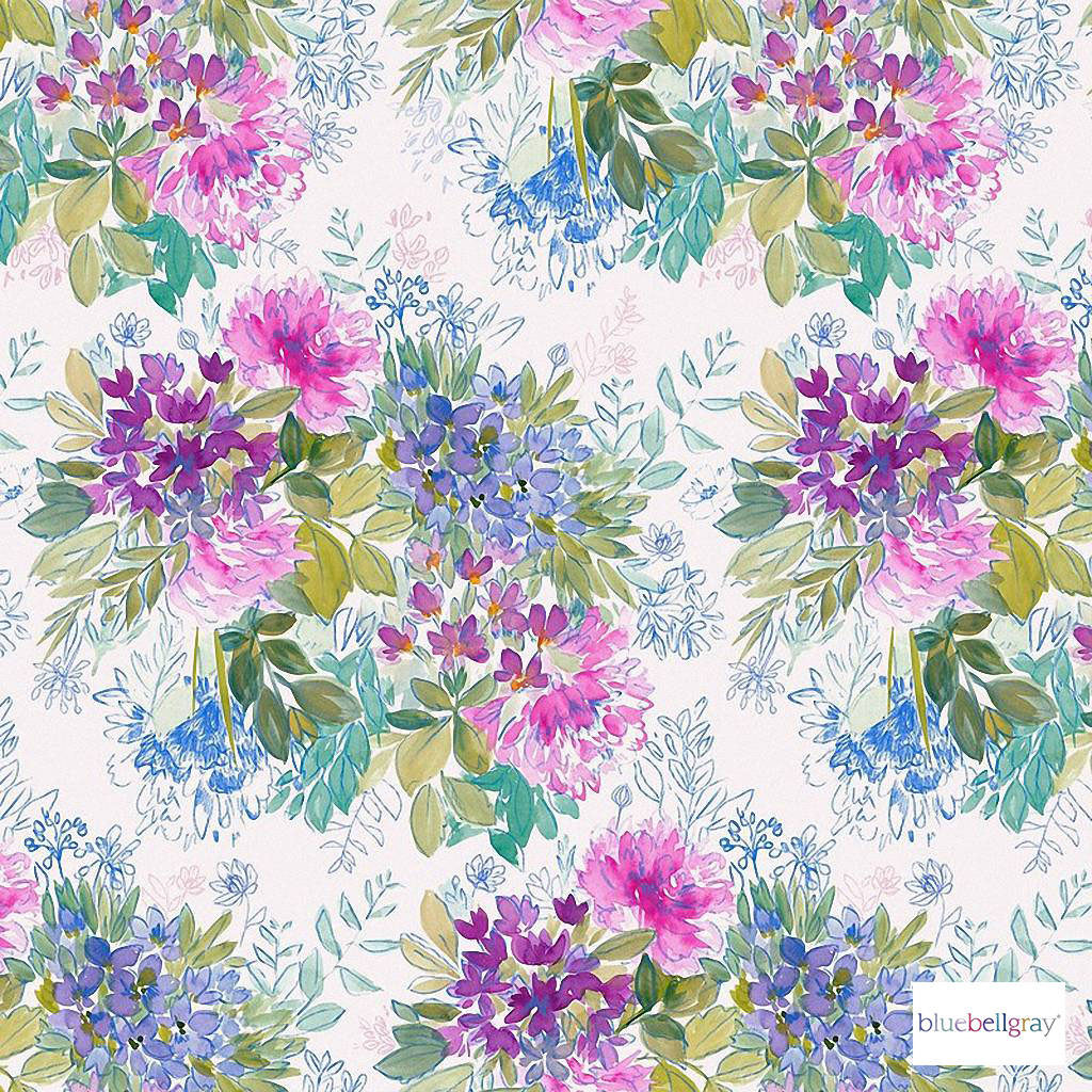 Bluebellgray - Ines Wallpaper - Bloom - 58007-101 | Wallpaper, Wallcovering - Blue, Pink, Purple, Contemporary, Floral, Garden, Botantical