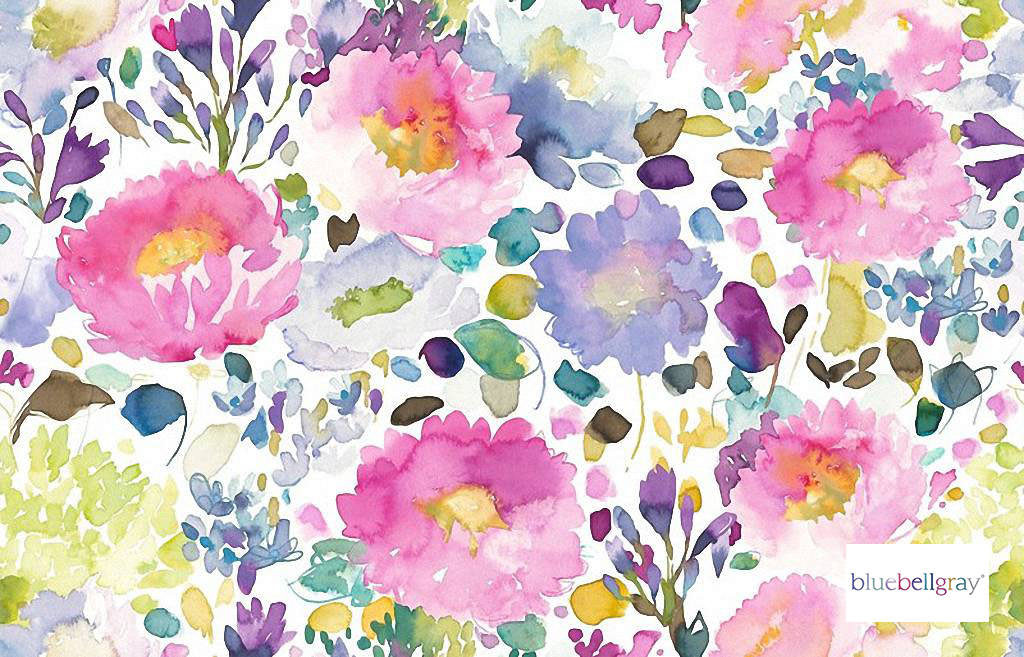 Bluebellgray - Majorelle - Florist - 58023-101 | Curtain & Upholstery fabric - Blue, Pink, Purple, Contemporary, Floral, Garden, Botantical, Natural