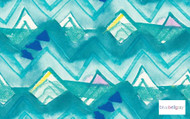 Bluebellgray - Mounia - Teal - 58021-102  | Curtain & Upholstery fabric - Blue, Floral, Garden, Natural Fibre, Pattern, Turquoise, Teal, Natural, Standard Width, Watercolour