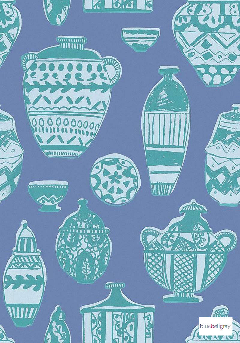 Bluebellgray - Pots - Blue - 58045-101 | Curtain & Upholstery fabric - Blue, Contemporary, Natural, Pattern, Figurative, Natural Fibre