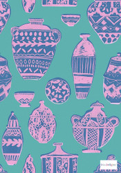 Bluebellgray - Pots - Pink - 58045-102 | Curtain & Upholstery fabric - Blue, Green, Pink, Purple, Contemporary, Natural, Pattern, Figurative