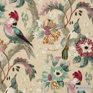 James Dunlop - The Conservatory - Mulberry - 12621-102  | Curtain & Upholstery fabric - Deco, Decorative, Floral, Garden, Natural Fibre, Pink, Purple, Animals, Natural, Birds