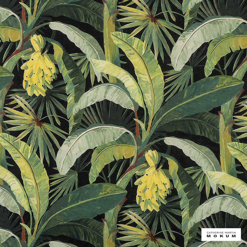 Catherine Martin By Mokum - La Palma - Midnight - 12592-514  | Curtain Fabric - Green, Floral, Garden, Botantical, Wide-Width, Acoustic Properties