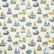 Pegasus - Boat Club - Cobalt - 18601-101  | Curtain Fabric - Acoustic Dampening, Blue, Kids, Children, Natural Fibre, Natural, Top of Bed, Standard Width, Nautical
