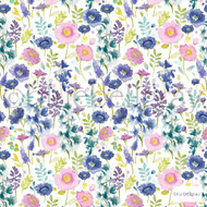 Bluebellgray - Florrie - Summer - 57227-101  | Curtain & Upholstery fabric - Blue, Floral, Garden, Multi-Coloured, Natural Fibre, Natural, Top of Bed, Standard Width