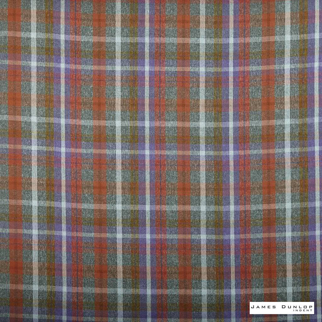 James Dunlop Indent - Sutherland - Bracken - 13279-105  | Curtain & Upholstery fabric - Fire Retardant, Red, Check, Fibre Blends, Multi-Coloured, Commercial Use, Top of Bed