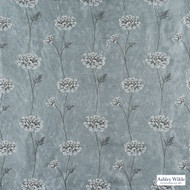 Ashley Wilde - Ashton - Nedla Aqua  | Curtain Fabric - Blue, Contemporary, Floral, Garden, Botantical, Velvets, Standard Width