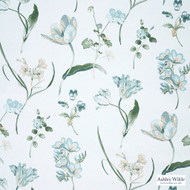 Ashley Wilde - Hampton Court - Buckingham Forget Me Not  | Curtain Fabric - Green, Floral, Garden, Botantical, Dry Clean, Natural, Natural Fibre