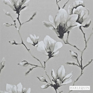 Harlequin Lotus 110880  | Wallpaper, Wallcovering - Fire Retardant, Grey, Contemporary, Floral, Garden, Botantical, Asian, Chinoiserie, Chinoise