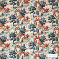 Linwood - Lf1692C_001 Red Coats  | Curtain & Upholstery fabric - Brown, Green, Floral, Garden, Botantical, Velvets, Animals, Fauna, Natural, Toile