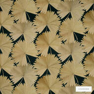 Linwood - Lf1980C_004 Midnight  | Curtain & Upholstery fabric - Gold,  Yellow, Floral, Garden, Midcentury, Natural Fibre