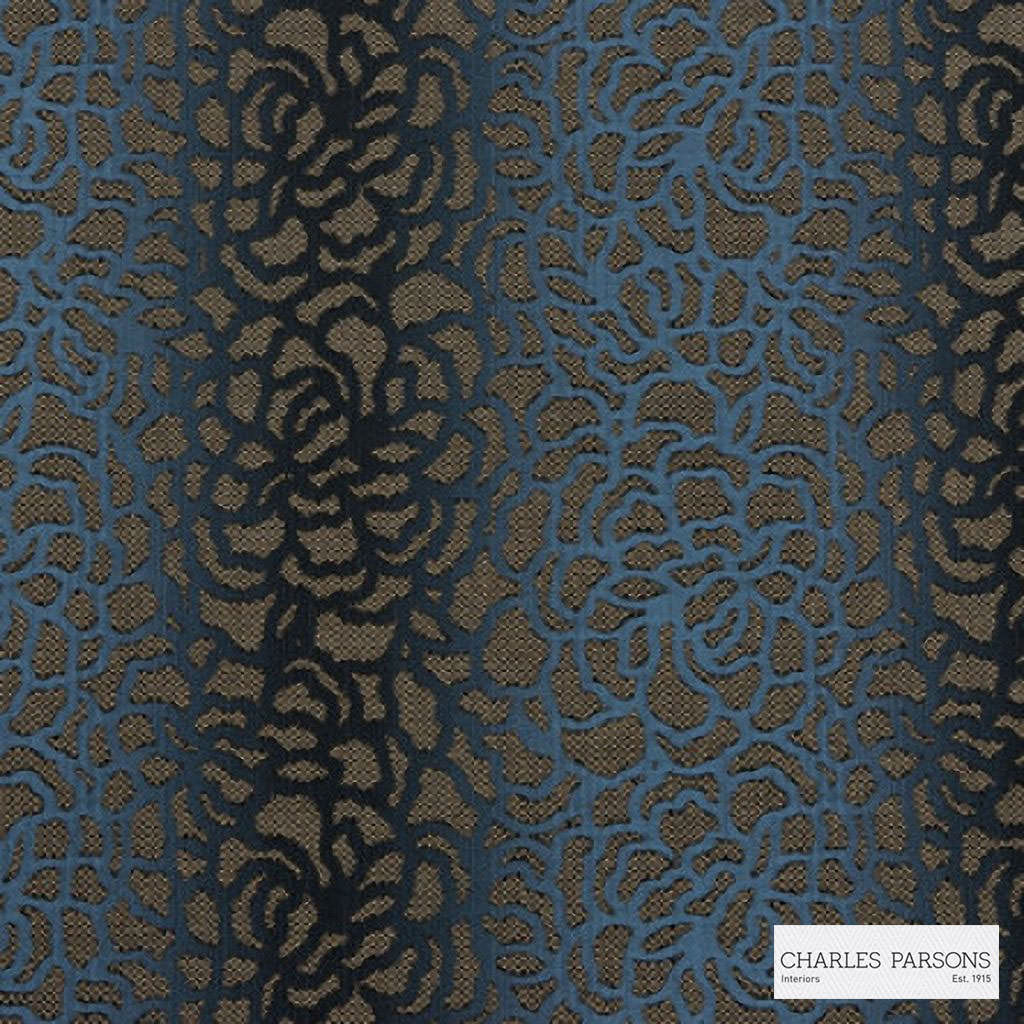 Charles Parsons Interiors - Edie Dark Blue  | Upholstery Fabric - Blue, Floral, Garden, Uncoated, Weave, Commercial Use