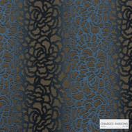 Charles Parsons Interiors - Edie Dark Blue | Upholstery Fabric - Blue, Contemporary, Floral, Garden, Botantical, Uncoated
