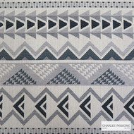Charles Parsons Interiors - Warrior Charcoal  | Upholstery Fabric - Black - Charcoal, Geometric, Kilim, Southwestern, Stripe