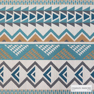 Charles Parsons Interiors - Warrior Cyan  | Upholstery Fabric - Blue, Geometric, Uncoated, Weave, Commercial Use, Domestic Use, Jacquards