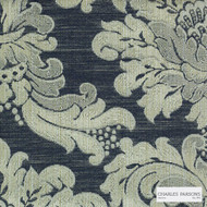 Charles Parsons Interiors - Ashridge Denim | Curtain Fabric - Black, Charcoal, Traditional, Uncoated, Damask