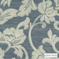 Charles Parsons Interiors - Totteridge Cameo | Curtain Fabric - Blue, Floral, Garden, Botantical, Traditional, Uncoated, Damask