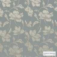 Charles Parsons Interiors - Cromwell Duckegg  | Curtain Fabric - Floral, Garden, Uncoated, Weave, Commercial Use