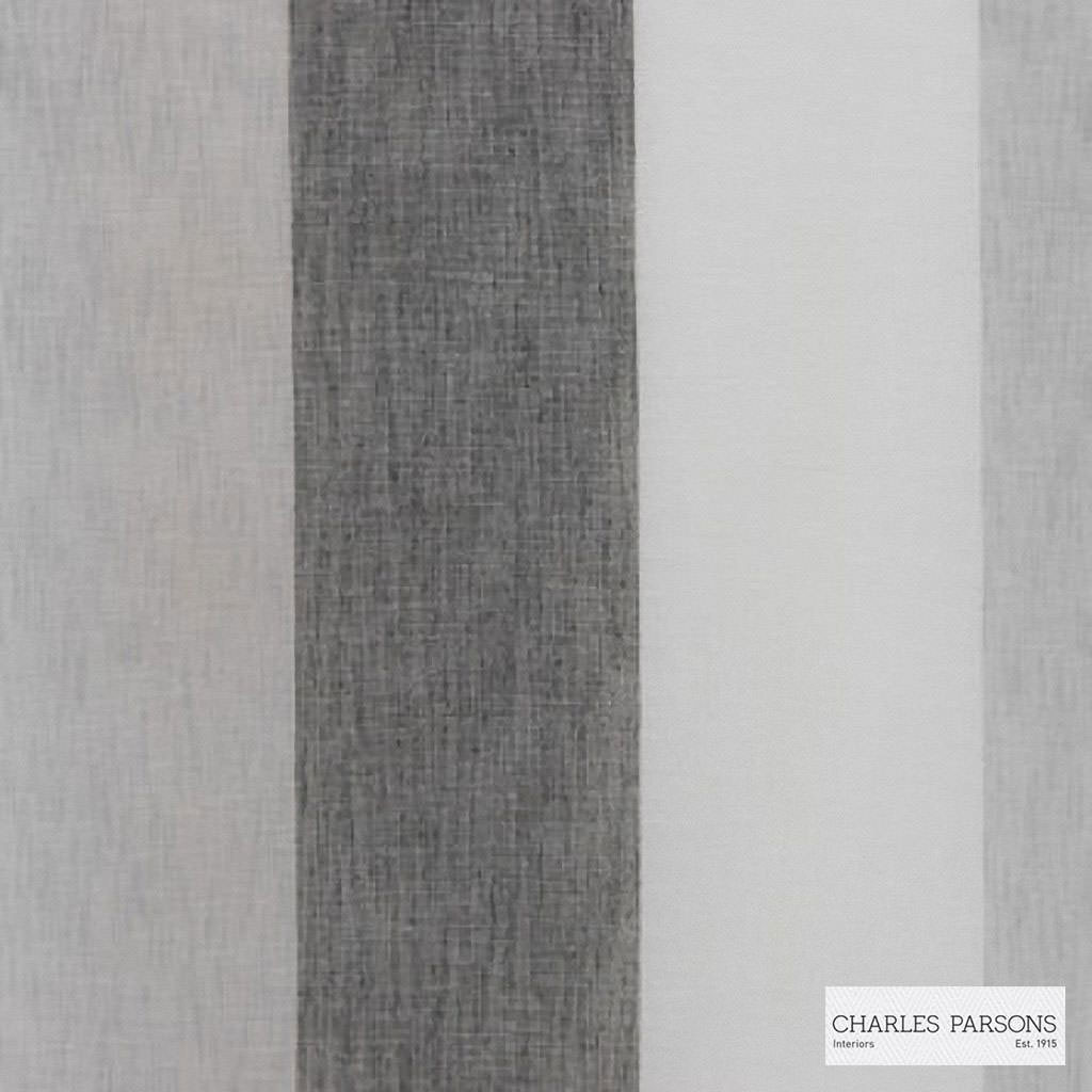 Charles Parsons Interiors - Flaxton Riverstone | Curtain Sheer Fabric - Fire Retardant, Grey, Stripe, Uncoated