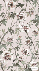 Mokum Peonia A Wallpaper - Blush  | Wallpaper, Wallcovering - Burgundy, Green, Pink, Purple, Floral, Garden, Botantical, Decorative, Pattern